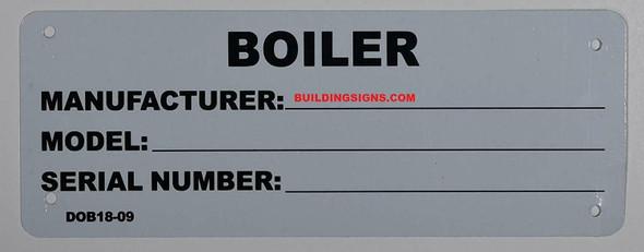 Boiler Registration Number Sign (3x8.5,White Aluminum