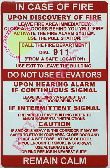 IN CASE OF FIRE DO NOT USE THE ELEVATORS SIGN