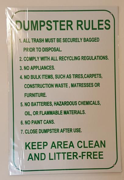 Dumpster Rules SIGN ( ALUMINIUM 12