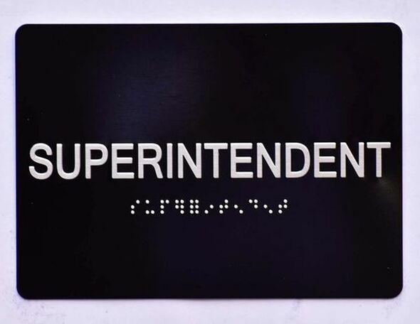SIGNS SUPERINTENDENT SIGN (5X7) ADA BLACK Tactile