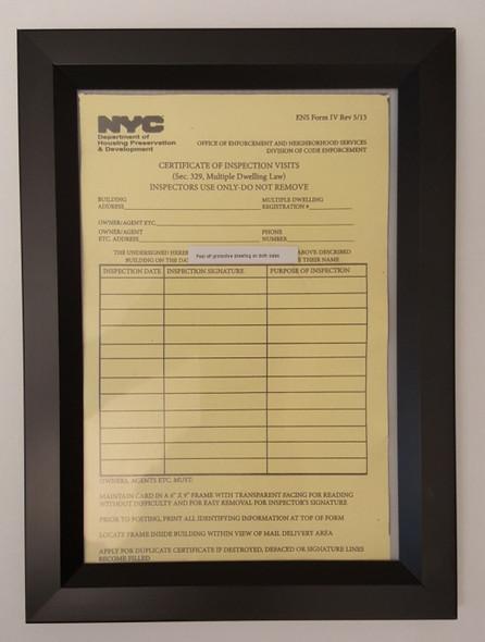 Inspection Frame 6x9 Black (Heavy Duty