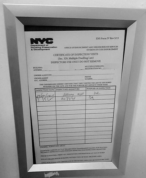 Elevator Permit Frame 8.5x11 (Silver, Heavy