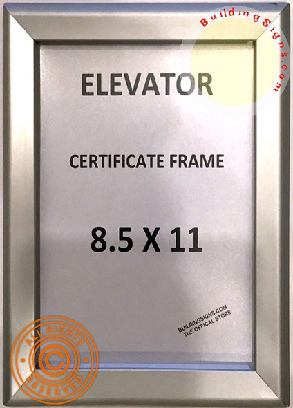 SIGNS Elevator Certificate Frame 8.5x11 (Silver, Heavy