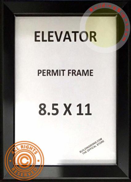 SIGNS Elevator Permit Frame 8.5x11 (Black, Heavy