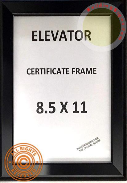SIGNS Elevator Certificate Frame 8.5x11 (Black, Heavy