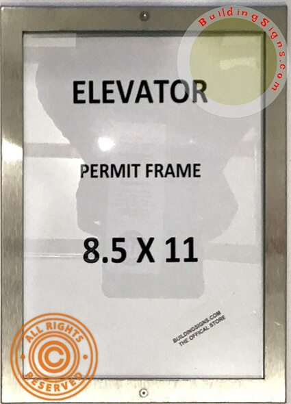 Elevator Permit Frame 8.5x11 (Lockable !!!,