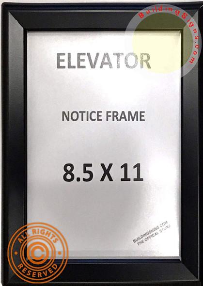 Elevator Notice Frame 8.5x11 (Black, Heavy