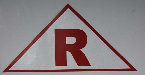 State Truss Construction Sign-R Triangular (White,Sticker,12