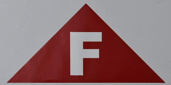State Truss Construction Sign-F Triangular (RED,Sticker,12
