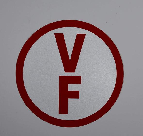 V-F Floor Truss Circular Sign (White,Reflective