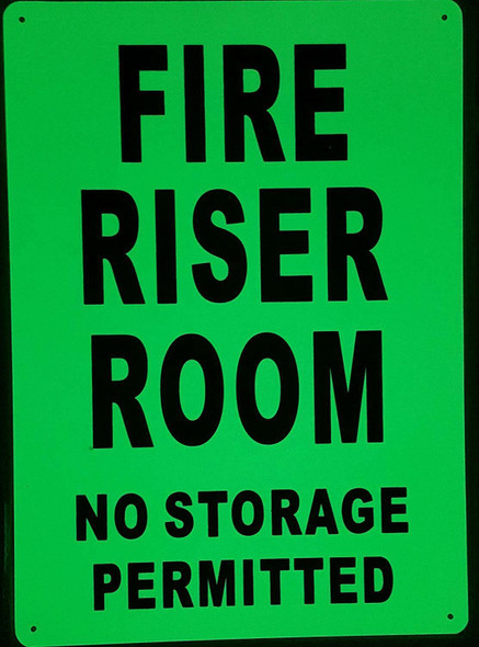FIRE RISER ROOM SIGN GLOW IN