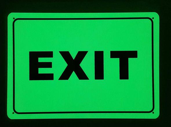 EXIT SIGN (HEAVY DUTY,ALUMINUM SIGN 7X10,Photoluminescent