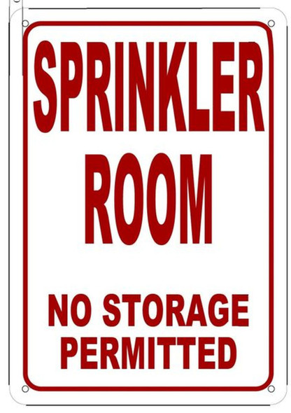 SIGNS SPRINKLER ROOM NO STORAGE PERMITTED SIGN