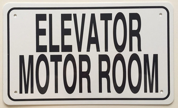 SIGNS ELEVATOR MOTOR ROOM SIGN (White 6x10