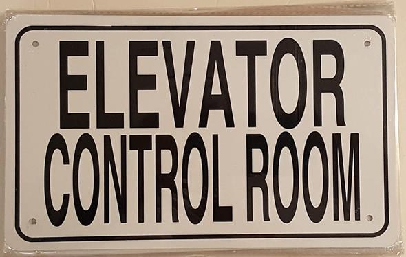 ELEVATOR CONTROL ROOM SIGN (White 6x10