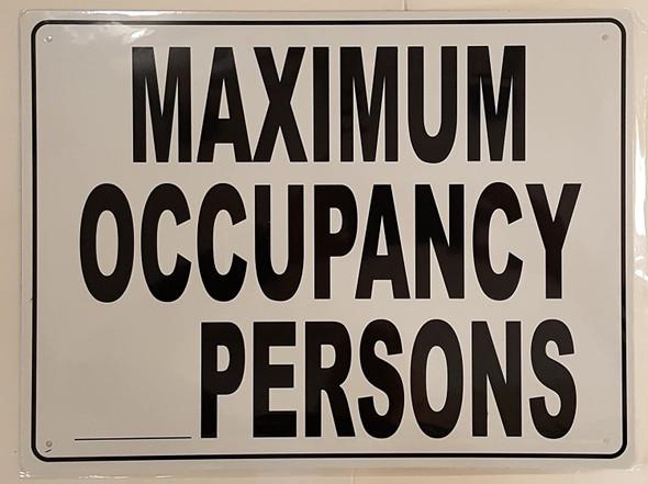 """Maximum Occupancy Persons, Aluminum, 12"""" H"""