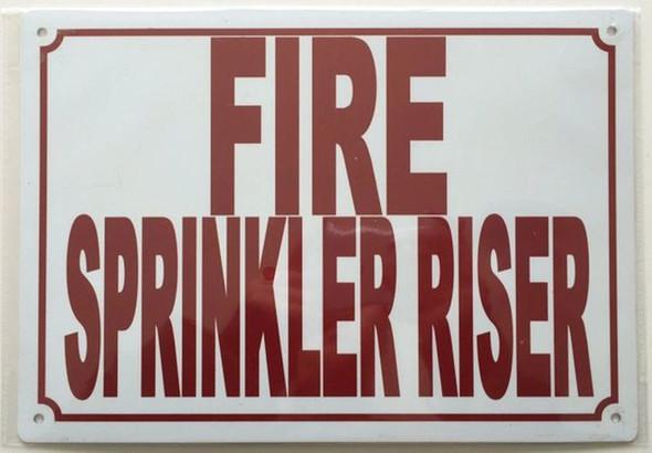 Fire Sprinkler Riser Sign (White,Aluminium 7x10)-(ref062020)