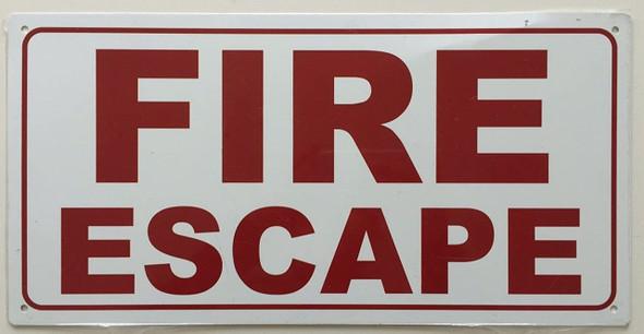 Fire Escape Sign (White,Aluminium, 7x14 inch)-(ref062020)