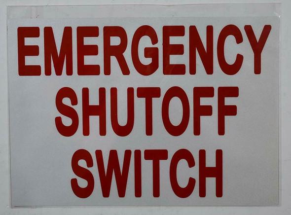 SIGNS Emergency Shut-Off Switch Sticker (Reflective White