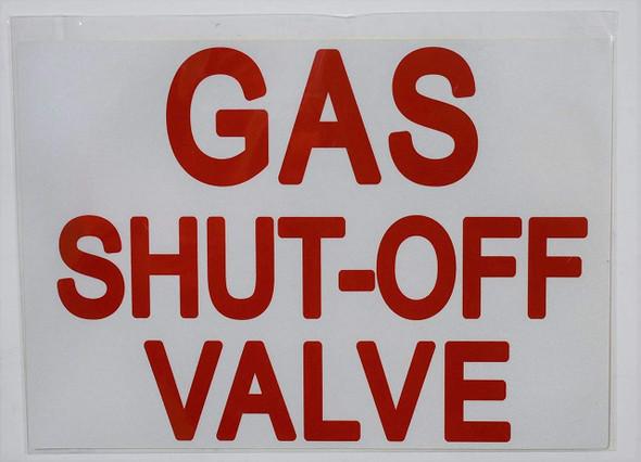 SIGNS Gas Shut-Off Valve Sticker (Reflective White