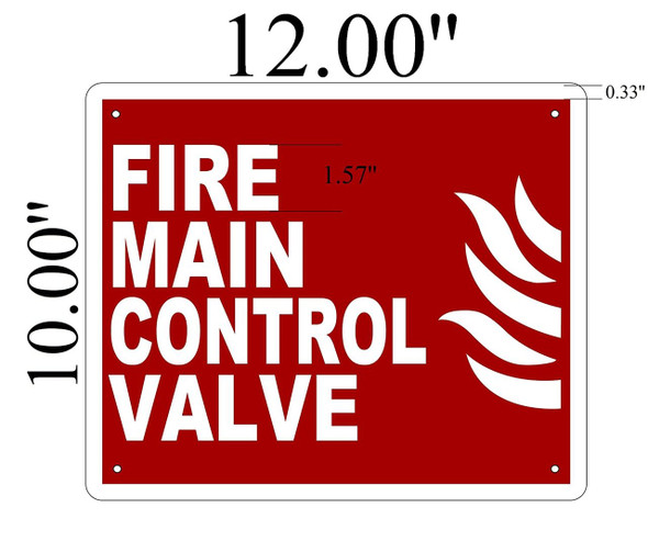 SIGNS Fire Main Control Valve Fire SIGN