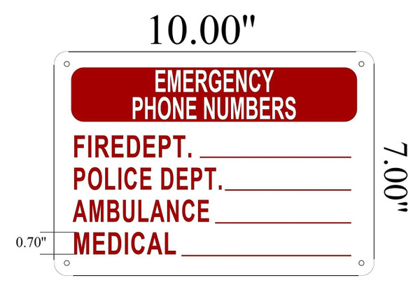 SIGNS Emergency Phone Numbers sign (Aluminium RUST