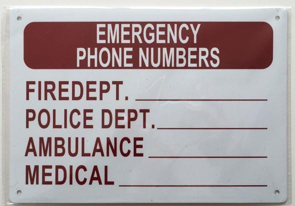 Emergency Phone Numbers sign (Aluminium RUST