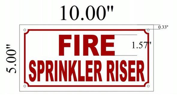 SIGNS Fire Sprinkler Riser Sign (White,Aluminium 5x10)-(ref062020)