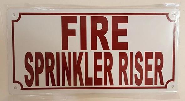 Fire Sprinkler Riser Sign (White,Aluminium 5x10)-(ref062020)