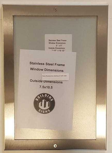 Elevator certificate frame 6x9 stainless Steel-(ref062020)