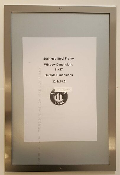 "Elevator certificate frame 8.5"" x 14"""