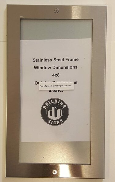 Elevator certificate frame 4x8 stainless Steel-(ref062020)