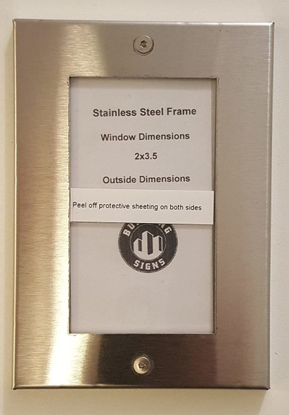 SIGNS Elevator Permit frame 3.5x2 stainless Steel-(ref062020)