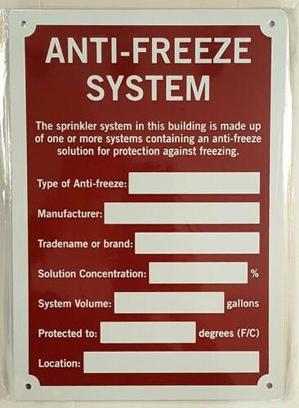 SIGNS Anti-Freeze System SIGN (Aluminium rust free,