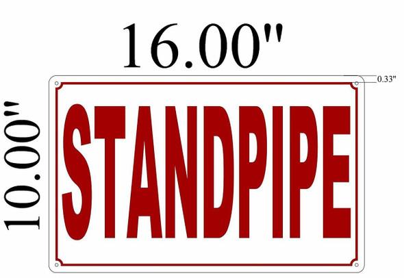 SIGNS Standpipe Sign (White Background,Aluminium 10X16)-(ref062020)