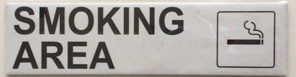 SMOKING AREA SIGN (WHITE ,ALUMINIUM 2