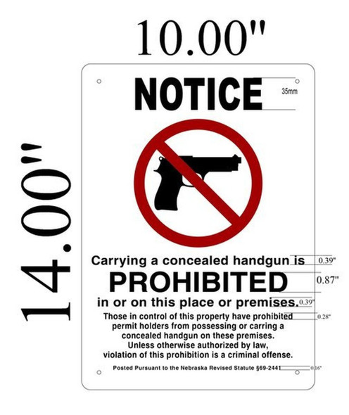 SIGNS Notice Carrying A Concealed Handgun Is