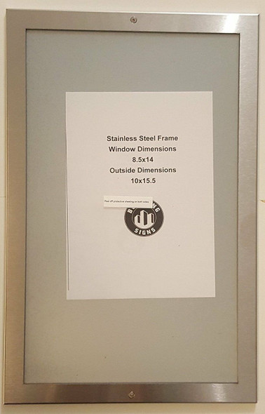 """DIRECTORY FRAME 8.5"""" X 14"""" STAINLESS"""