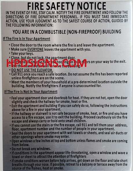 SIGNS HPD Fire Safety Notice: Combustible Buildings