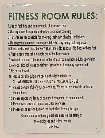 SIGNS Fitness Room Rules Sign ( Aluminium