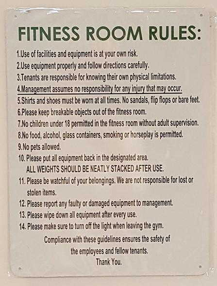 Fitness Room Rules Sign ( Aluminium