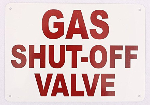 SIGNS Gas Shut-Off Valve Sign (White,Aluminum Sign