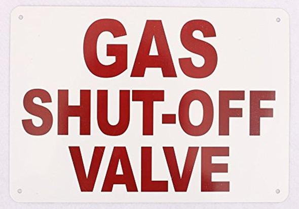 Gas Shut-Off Valve Sign (White,Aluminum Sign