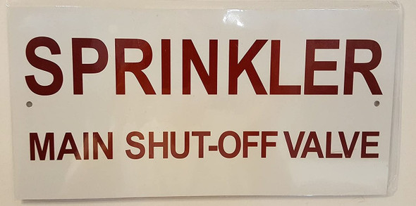 SIGNS Sprinkler Main Shut-Off Valve Sign (Aluminum
