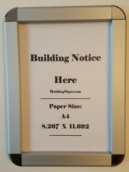 SIGNS Hallway/Lobby Notice Frame A4- Chrome !!!
