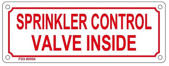 SPRINKLER CONTROL VALVE INSIDE SIGN- REFLECTIVE