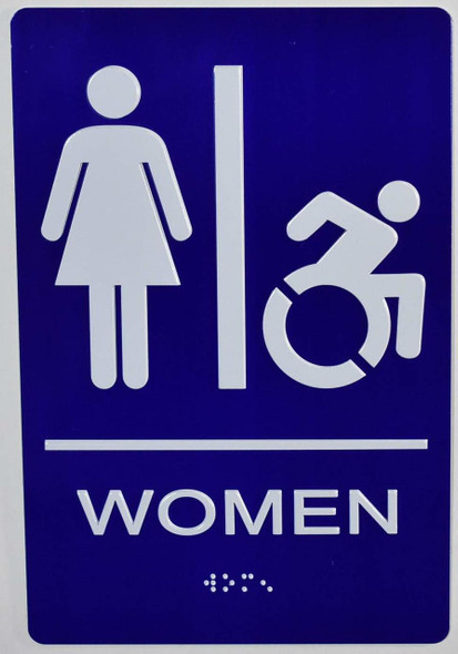SIGNS Woman Restroom accessible Sign -Tactile Signs