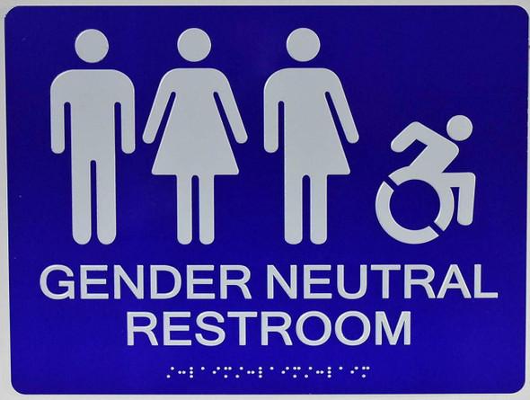 SIGNS Gender Neutral Restroom Sign (Blue, 12x9)