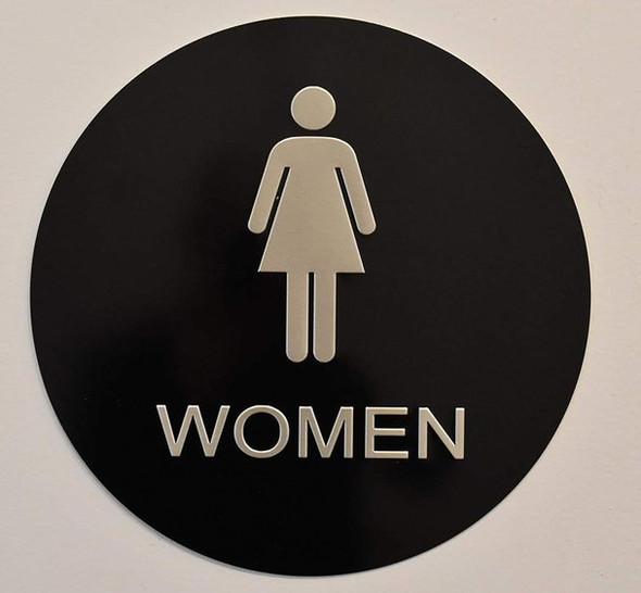 SIGNS Women Restroom Sign -Tactile Signs (Aluminium,
