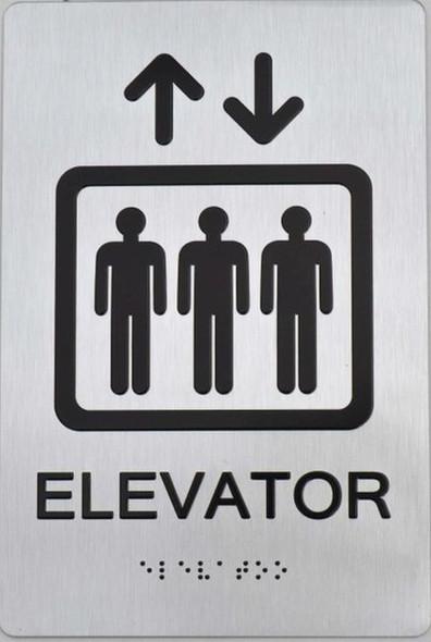 Elevator ADA Sign -Tactile Signs (Aluminium,